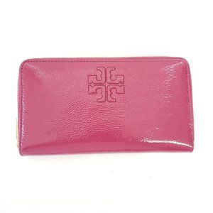 Tory Burch Patent Leather Zip Around Wallet Pink
